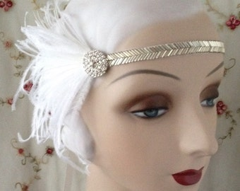 silver, gold or black 1920's flapper costume headband with beaded band, vintage style rhinestone button and black white or ivory feathers