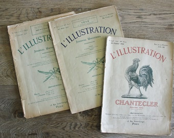 3 Antique French Weekly Newspapers L'Illustration 1910 Illustrated   SALE - was 38.00
