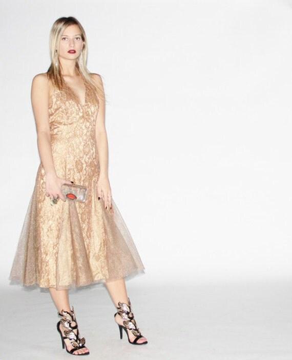 Gold Lace Cocktail Dress - Lace Halter Dress - Cocktail Dresses - WD0126