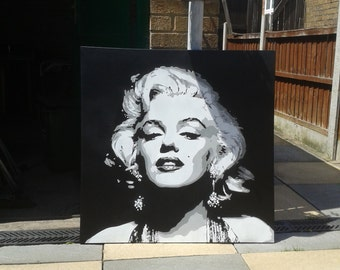 Marilyn Monroe painting large canvas stencil art spray paint art black white film star hollywood icons pop art street art portrait custom