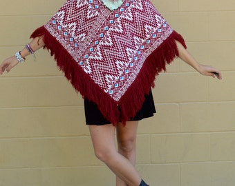 Vintage MEXICAN Ethnic Print Embroidered FRINGE PONCHO One Size
