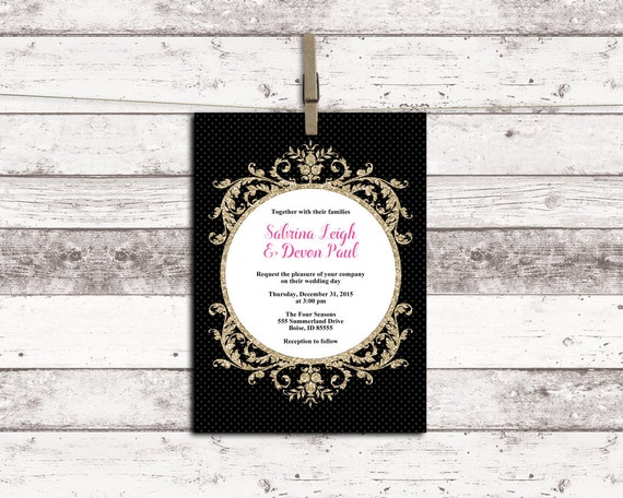New Years Eve Wedding Invitation: Printable New Years Eve Wedding Invitation By
