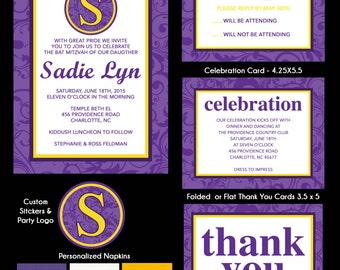Purple and Yellow Floral Bat Mitzvah Invitations