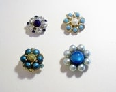 Set of 4 Recycled Vintage Beaded and Rhinestone Jewelry Frig Magnets