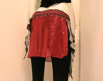 Belly dance hip scarf, hip skirt, hip belt with red and green ribbon trim, shimmering red, brown bead trim and gray velvet SM - MED