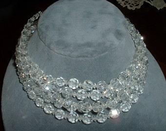 Vintage Signed MARVELLA Five Strand Hand Cut Austrian Crystal Necklace 1940 1950 Superb Mid Century