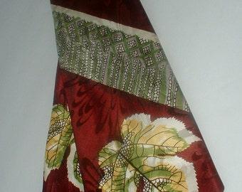Vintage 1940 Maroon Silk Tie Necktie Leaf Nature Motif ARROW Made in U.S.A. Hand Tailored All Silk CLASSIC