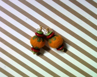Pumpkin, Red and Green Felted Earrings (2025)