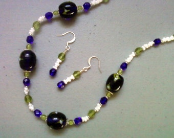 Cobalt Blue, Light Olive Green and White Necklace and Earrings (0677)