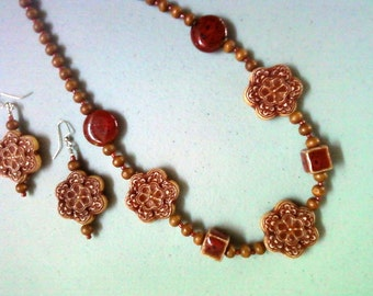 Burgundy and Brown Ethnic Influenced Necklace and Earrings (0266)