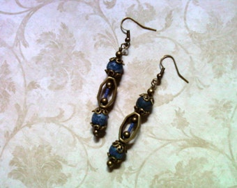 Denim Blue and Brass Earrings (1513)