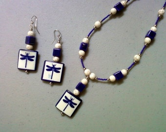 White and Cobalt Blue Dragonfly Necklace and Earrings (1027)