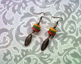 Yellow, Green and Red Ethnic Earrings (1615)