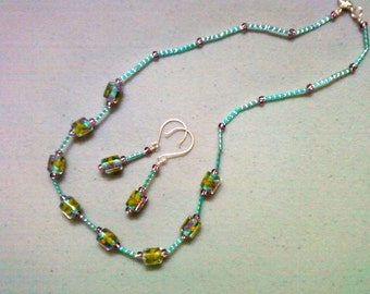 Teal, Pink and Yellow Necklace and Earrings (0548)