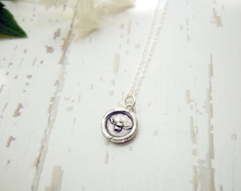 Baby Bee Necklace Tiny Wax Seal Embossed Custom Charm on Sterling Silver Chain for Honey Queen Bee Mommy Bridesmaid Wedding Organic