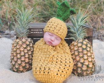 Baby Pineapple Newborn Prop/ Crochet Pineapple Hat/Hawaiian Theme Baby /Pineapple Swaddle Sack/ Baby Boy Prop/ Baby Girl Prop/ Swaddle Sack