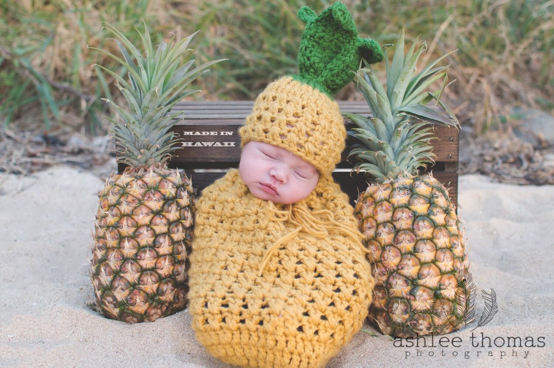 Baby Pineapple Newborn Prop Crochet Pineapple Hat Hawaiian