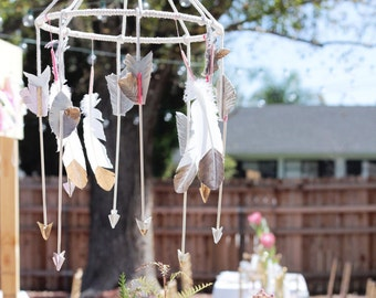 Baby Mobile - Hanging Arrow Mobile - Feather Gold Mobile - Southwestern Baby Mobile - Custom Colors Leather Baby Boy Baby Girl Crib