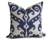 Decorative Designer Ikat Pillow Cover - Navy Blue - IKAT - Linen Pillow - Toss Pillow - Accent Pillow - Throw Pillow - decorative pillow