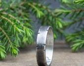 Men's Wedding Band - Rustic Wedding - 5mm band - Men's Wedding Ring - Oxidized Silver Ring - Unique Men's Wedding Band - Husband gift