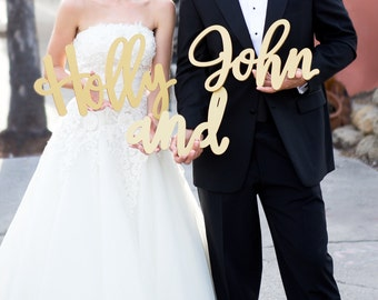 Custom Name Cutouts Signs for Wedding or Decor, 2 Name Signs Personalized Wedding Decorations (Item - PNS500)