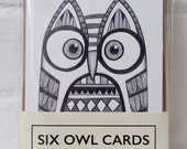Set of Six Owl Cards