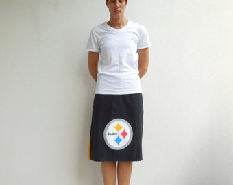 Pittsburgh Steelers T-Shirt Skirt Women's Skirt Gold Black Recycled TShirt Skirt Upcycled Tees Knee Length Skirt Cotton Skirt Fall ohzie