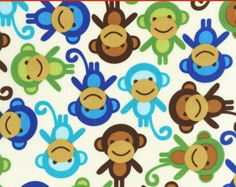 "LAMINATED Cotton  - Monkeys Anne Kelle Urban Zoologie - Robert Kaufman, 56"" Wide, BPA & PVC Free"