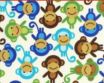 "LAMINATED Cotton  - Monkeys Anne Kelle Urban Zoologie - Robert Kaufman, 56"" Wide, BPA & PVC Free"