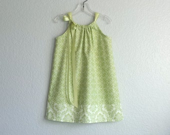 NEW! Girls Green Pillowcase Dress  - Sage Green and Cream Damask Sun Dress - Sizes 12 mth, 18 mth, 2T, 3T, 4T, 5, 6, 8, or 10