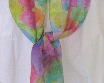 Watercolour hand painted silk scarf pink orange blue purple greens floral design 8x54 Canadian made scarf
