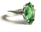 Vintage Sterling Silver Green Peridot CZ Solitaire Ring - Marquise Cut - 1 ctw - SIGNED - Size 8