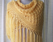 Yellow LEMON Hand Knit SHAWL Triangle Scarf SOFT Acrylic / Bridal Shawl / Ready to ship