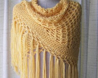 Yellow LEMON Hand Knit SHAWL Triangle Scarf SOFT Acrylic / Bridal Shawl / Ready to ship