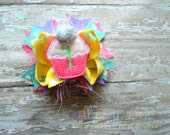 First Birthday Cupcake Monogrammed Initial Petite Sized Boutique Style Hair Bow Pink Aqua Lavender Yellow White Marabou