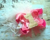 First Birthday Number Boutique Style Hair Bow Pink Gold Light Pink Ostich Puff - You Choose the Number