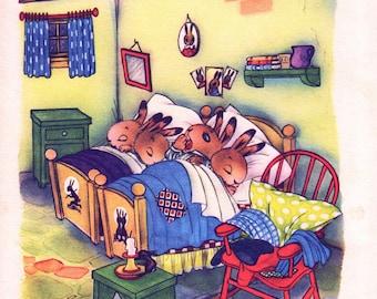 Bedtime for little Rabbits, vintage nursery print for boy or girl nursery decor