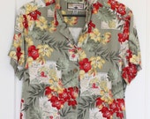 Vintage Caribbean Joe Hawaiian Shirt, Tropical Shirt for Luau Party, Ladies Blouse Button Up Shirt, Cruise Shurt, Summer Blouse,Size Large L