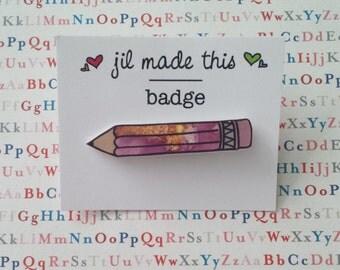 Illustrated Pink Pencil brooch