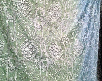 Lime Sky Blue Grey Black Embroidered Silk Cotton Yardage