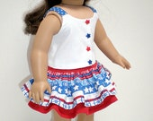 Nautical Ruffled Skirt & Top 18 inch doll clothes
