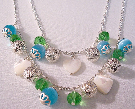 Blue Green Pearl Hearts Necklace Silver Tone Vintage Double Strand White Discs Filigree Open Beads Figaro Link Chain