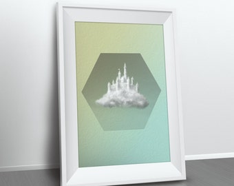 Green Mint Kids Poster / Hexagon Geometric Poster / Kids Decor / Castle Clouds / Minimalist Office Decor / Modern Wall Art / Boys Room