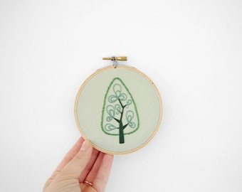 Cute Little Abstract Tree Art, Hand Embroidery Hoop Art, 4 inch Embroidery Hoop Fiber Art of Tree Design