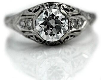 Antique Engagement Ring Art Deco Filigree 1.05 Old European Cut Diamond in 18k White Gold