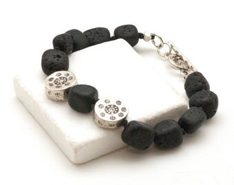 Lava Bracelet, Black Lava Rock & Sterling Silver Santorini Bracelet, Lava Jewelry, Boho Everyday Beaded Lava Bracelet, Greek Jewelry