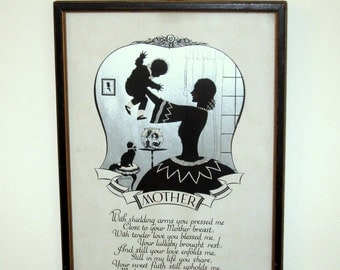 Vintage Buckbee Brehm Picture of Mother and Child and Poem