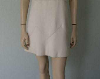 Rare 1960s Attributed to // Renato Balestra Italian Couture // Mod Silk  Crepe Gabardine Mini Dress // Cool White /