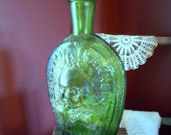 Vintage 1970's Benjamin Franklin Wheaton Millville, NJ Decanter Glass collectible bottle 8 inch absinthe green