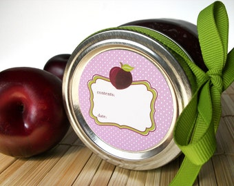 Cute Plum canning jar labels, round stickers for regular & wide mouth jars, fruit preservation, jam jar labels, jelly labels, preserves